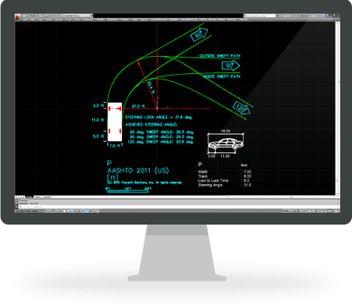 Vehicle turning templates demo transoft solutions for Vehicle swept path templates