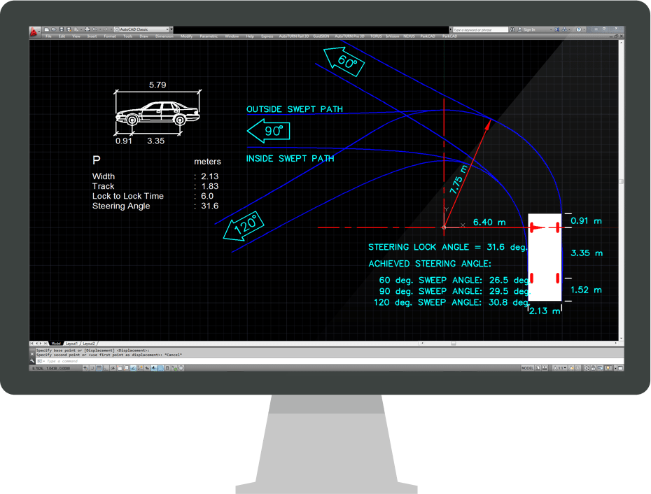 Vehicle turning templates features transoft solutions for Vehicle swept path templates