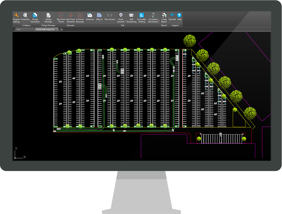Parkcad parking lot design and layout software parking for Garage planning software