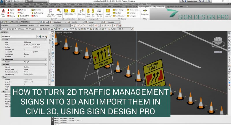 Convert a 2D road sign into 3d and import it as a civil 3d surface
