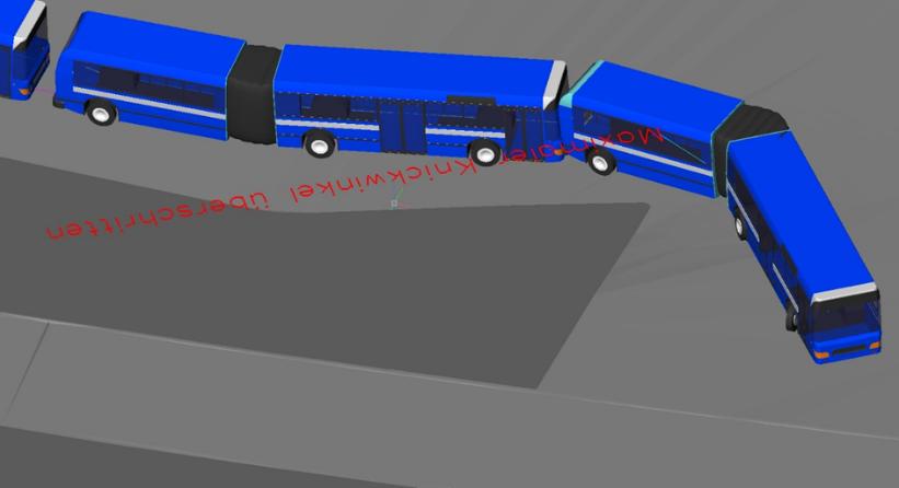 Beispiel Überschreitung des maximalen Knickwinkels dargestellt in AutoTURN Pro.