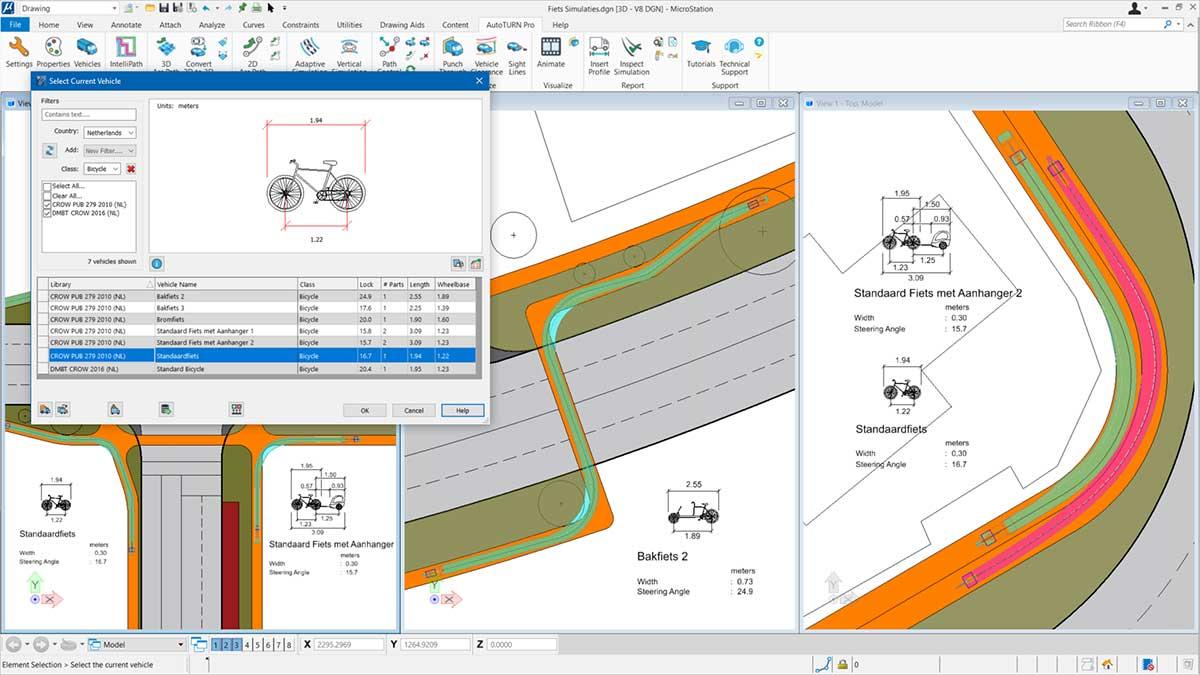 Ontwerp Fietspaden met AutoTURN Pro